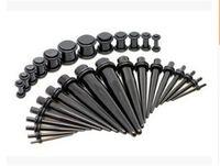 Nuovo stile Pure Color Trendy 18 Pezzi acrilico assottiglia spine doppio O-orecchio anelli Calibri unisex stretching Kit Orecchini