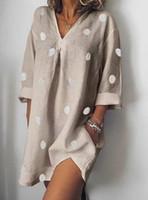 Мода стилист платье женские летние V-образные вырезывающие платья повседневная полька точка свободно расщепленные платье мода женская одежда