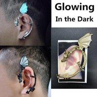 La nueva manera 1Pc clip de las mujeres de la personalidad pendiente de la forma del punk luminoso oído del dragón Puño pendiente de clip ninguna perforación Declaración de joyería