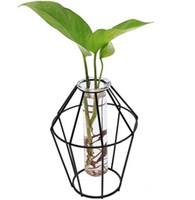3d الزجاج الحديد الفن إناء هندسي مع النبات منضدية كوفيت بونساي زهرة الزفاف اكسسوارات الديكور المنزل