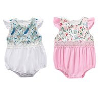 Infant Baby Floral Romper Ruffle Sleeve O- neck Lace Buttons ...