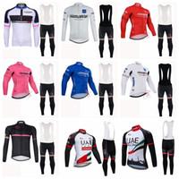 TOUR DE ITALY UAE Abu Dhabi team Cycling long Sleeves jersey bib shorts  sets MTB bike ropa Ciclismo quick dry cycling clothing 013111F d66158e9b