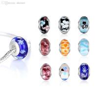 Großhandels-Großhandel europäische Art-Silber Murano Glasperlen Schmuckherstellung für DIY Armband-Halsketten-Mischfarben in lose Schüttung 50pcs / lot