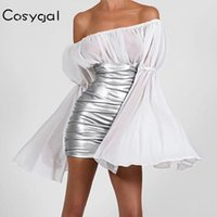 COSYGAL 2020 sans bretelles Flare manches Robe sexy Patchwork Robe Pu Femmes Bodycon Party plissés Night Club Robes Robes