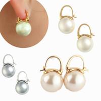 Pendientes de perlas Mujer Champaña Gris Blanco Perla de agua dulce Pendientes colgantes Joyas Plata Anillos chapados en oro