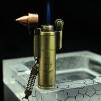 Creativ Bullet Shape Jet Torch Lättare Vindtät Flamma Refillerbar Butan Gas Cigarett Lättare Cigar Flint Wheel med nyckelkedja bärbar