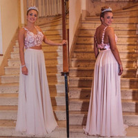Deux pièces Robes A Ligne Chiffon Femmes Soirée De Soirée Robes De Soirée Fabriqué à la main Fleurs Longues Robes de bal