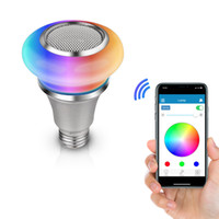 Bluetooth Light Bulbs Haut-parleur, Sans fil E27 E26 E27 E27 Smart LED Lampe d'éclairage de lampe à LED avec RVB Couleur Changement de musique Player Smartphone Application de l'application