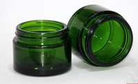 20g 30g green glass cream wax jar container with black silve...