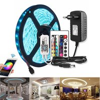 RGBW RGBWW RGB LED Strip WiFi DC 12V 5050 flexível impermeável Luz LED Strip fita 60 LEDs / m 5M IR WiFi Controlador Power Adapter