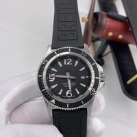 1884 Süper Okyanus 46 Siyah Paslanmaz Çelik Döner Bezel Erkek İzle Otomatik Mekanik Kauçuk Bant İzle saatı Dial