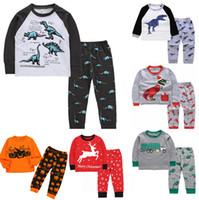 아동이지웨어 아이 캐주얼 의류 소녀 소년 만화 공룡 운동복 크리스마스 2-7 년 동안 착용 자 의류 세트 잠옷