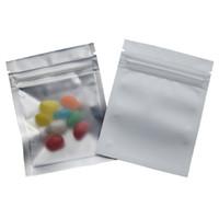 7.5 * 10 cm Beyaz Buzlu Alüminyum Folyo Temizle Ön Zip Kilit Çanta 100 adet / grup Snack Gıda Paketleme Çantası Tesgeleme Fermuar Ambalaj Saklama Çantası