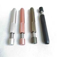 78mm comprimento de metal um rebatedor mola mola fumar acessórios de tubulação dicas de filtro de escavadeira Snuff distribuidor dispensador palha sniffer 4 cores narguilé