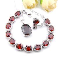 Luckyshien Oval Kırmızı Garnet Mücevher Bilezik Stud Kolye 925 Silve Salkım İçin Kadınlar Moda Charm Takı Setleri Noel Hediye Setleri
