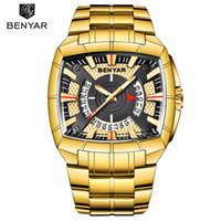 BENYAR Men Watch Business Golden Stainless Steel Men Quartz ...