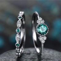 Sieraden ZiroCN Emerald Ringen Sets Verzilverd Opaal Ringen voor Vrouwen Simple Hot Fashion gratis of Shipping