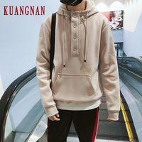 KUANGNAN Thick Solid Hoodie Men Japanese Streetwear Mens Hoodies Hip Hop Sweatshirt Men Hoodies Sweatshirts XXXL 2019 Autumn New