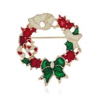 Perni di spilla Natale ghirlanda per uomini donne corona di fiori arco pace spilla fascino spille regalo di Natale pin gioielli spedizione gratuita