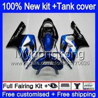 Кузов + бак для KAWASAKI 600CC ZX600 ZX636 ZX-6R 2003 2004 черный синий 211MY.43 ZX 636 6 R ZX6R 03 04 ZX-636 ZX-600 ZX 6R 03 04 обтекатель