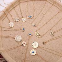 2020 Yeni Moda Kolye Kolye Bayanlar Altın Zincir Renkli Rhinestone Dolu Nazar Sikke Kolye Kadınlar için Bohemian Altın Kolyeler