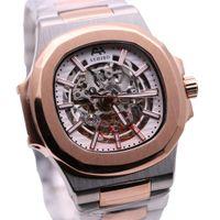 Two Tone Bracelet AEHIBO cristal de safira Automático Mecânica Mens Watch 42MM Oval osso transparente Branco Dial Relógios de pulso