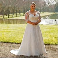 Плюс Размер Свадебные платья с открытой спиной сад Новый прозрачный 3/4 рукава кружево линия развертки Поезд аппликациями Свадебные платья сшитое