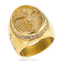New Vintage Cross Men Anéis Hip Hop Jóias Em Aço Inoxidável 316L Banhado A Ouro Anéis Anel de Cristais de Jesus Para homens