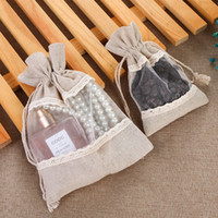 3. 9x5. 5 Inch Linen Jute Drawstring Bags with Lace Jewelry Po...