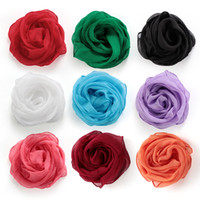 Solid Color Neck Warm Chiffon Silk Square Scarf Women Girl Soft Wrap Shawl Autumn Winter Neckerchief Hair Tie Band Wholesale