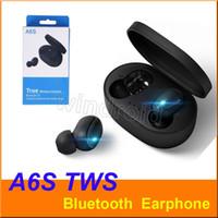 TWS A6S Bluetooth Kulaklık Kulaklık Kablosuz Kulaklık Bluetooth tüm iphone için mikrofonlu 5.0 Su geçirmez Bluetooth Kulaklık Akıllı Telefon android