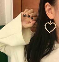 الكورية نمط تقليد لؤلؤة شكل قلب القلب الجوف أقراط للمرأة أقراط حزب مجوهرات اكسسوارات الأزياء e74