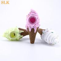 Chicas lindas rosadas helado de helado cono silicona fumar tubos de mano con vidrio grueso cuenco aceite quemador de aceite agua único percolador bong para 420