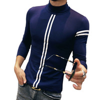 Sıcak 2016 Sonbahar Erkek T Shirt Yeni Moda Turtleneck Çizgili Uzun Kollu T Shirt Erkek Giyim Trend Casual Slim Fit Top Tees 5XL