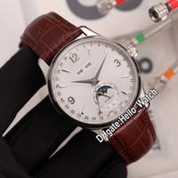 Новый Master Control Вечный календарь Calendar Q143344A Moon Passife автоматические мужские часы белый циферблат сталь корпус коричневый кожаный ремешок часы Hello_Watch