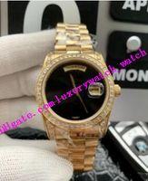 Fábrica Vendas Men Watch Bezel Diamond Black Dial ouro pulseira de aço inoxidável Asia 2813 Automatic Luxo Relógio de pulso frete grátis