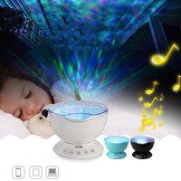 Projektör Okyanus Dalga Starry Sky LED Gece Işığı Uzaktan Kumanda Dalga Projeksiyon Lambası Star Projeksiyon Lambası USB Lamba Gece Işığı DH1066