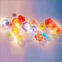 Европейский стиль ручной работы выдувного муранского стекла настенные тарелки цветка Разработанный Mouth УБИРАЕМОГО настенные светильники из стекла для отеля Лобби Decor