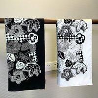 Blumen drucken Seide Kopfschals 90 * 90 cm Bandana Frauen doppelseitig Nackenschal Skinny Vintage Haar Krawatte Band große handgerollte quadratische Wrap