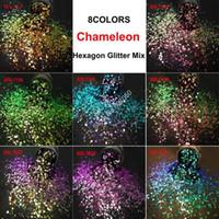 8colors Caméléon Glitter mixte lustre métallique hexagonal Forme Nail Art Craft Décorations Maquillage Facepainting Bricolage Accessoires