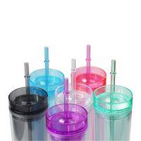 Coupe acrylique de couleur 17oz Coupe maigre tasse à double paroi des gobelets en plastique semi-bandeau bouteille avec des couvercles de paille Tasse portable de voyage