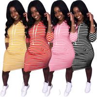 Frauen Langarm Hoodie beiläufige dünne Kleid Einteiler Party Abend Club Kleid Mode Streifendruck Kapuze Tasche Kleid klw2157