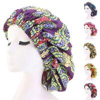 Женщины печати Ночной сон Cap волос Bonnet Hat Крышка головки сатин мусульманская Тюрбан Wrap Beanie Skulliea Уход за волосами эластичной лентой Мода