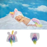 Bebé recién nacido crochet de punto de punto pony pony pony fotografía punta de sombreros trajes pony sombrero pantalones