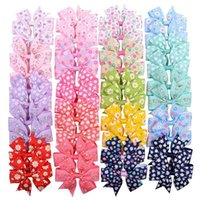 20 Pcs 3. 2 Inch Flower Print Grosgrain Ribbon Bows With Clip...