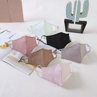 Diseñador de 4 capas de máscara de tela de algodón a prueba de polvo protector solar Máscara de verano orejas colgantes ajustable lavable Recorrido al aire libre XD23516