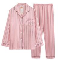 Rosa pijama de rayas de satén de seda Femme Conjunto de pijama de la puntada completa Pantalones Señora de dos piezas mujer dormir Pjs