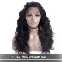 Malasia Densidad completa 360 Cordón Frontal Peluca Pelucas de Onda del cuerpo peruano 360 Pelucas delanteras del cordón del pelo humano con pelo del bebé para las mujeres negras