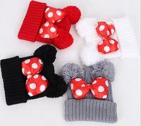 Big Dot Ilmek Bebek Şapka Sevimli Çocuk Kız Sıcak Kap Sonbahar Kış Açık Sıcak Örme Yün Bere