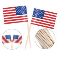 100pcs UK Toothpick Flag American Flag Zahnstocher-Kuchen-Deckel Backen Kuchen Dekor Getränk Bier-Stock-Partei-Dekoration Supplies LX1569